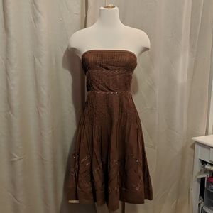 Brown dress with removable straps